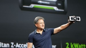Nvidia CEO Jen-Hsung Huang displaying the GTX GeForce Titan Z at launch