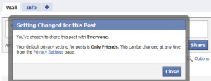 Facebook's default privacy selection