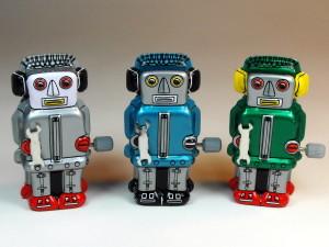 Sanko Seisakusyo (?????) ? Tin Wind Up ? Tiny Zoomer Robots ? Front