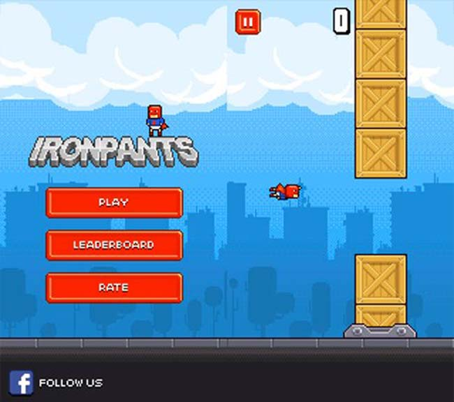 Ironpants - one of the many Flappy Bird imitators