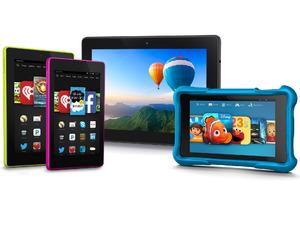 """Left to right: Fire HD 7"""", Fire HD 6"""", Fire HDX, Fire HD Kids Edition"""